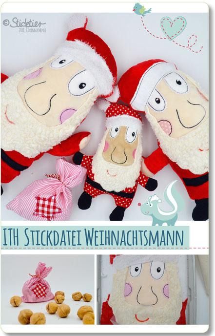 Stickdatei Nikolaus, Weihnachtsmann, ITH Stickdatei für die Stickmaschine, Sticktier, Kuscheltier, Puppe gestickt.