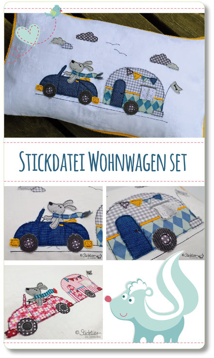 Applikation, Stickdateien für die Stickmaschine, Sticktier, Stickdatei Auto mit Wohnwagen, Stickdatei Caravan,