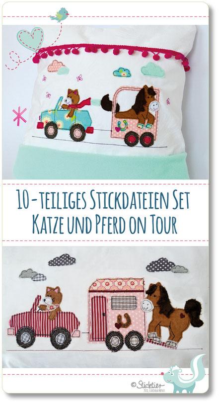 Stickdatei Pferd, Auto mit Pferdeanhänger gestickt, Stickdatei Sticktier, Applikation Auto mit Anhänger, Stickdatei für Mädchen
