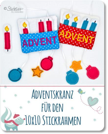 Sitckdatei ITH Adventskalender für den 10x10 Stickrahmen
