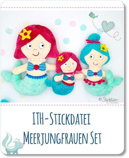Ith Stickdatei Meerjungfrauen für die Stickmaschine, Meerjungfrau selbstgestickt, Stickdatei von Sticktier