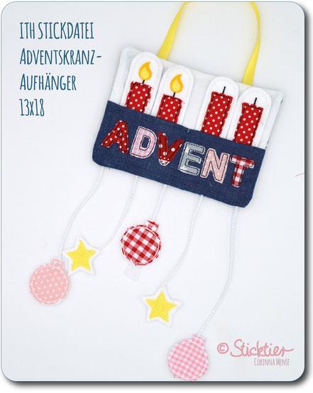 Weihnachten Stickdatei, Advent, Adventskranz Stickdatei, von Sticktier, Kinderzimmer gestickt