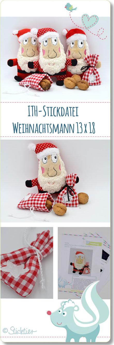 ITH Weihnachtsmann, Sticktier Stickdatei, Nikolaus Puppe, für die Stickmaschine, ITH Dateien
