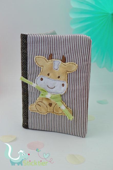 Stickdatei, Applikation Kuh mit Schal für die Stickmaschine