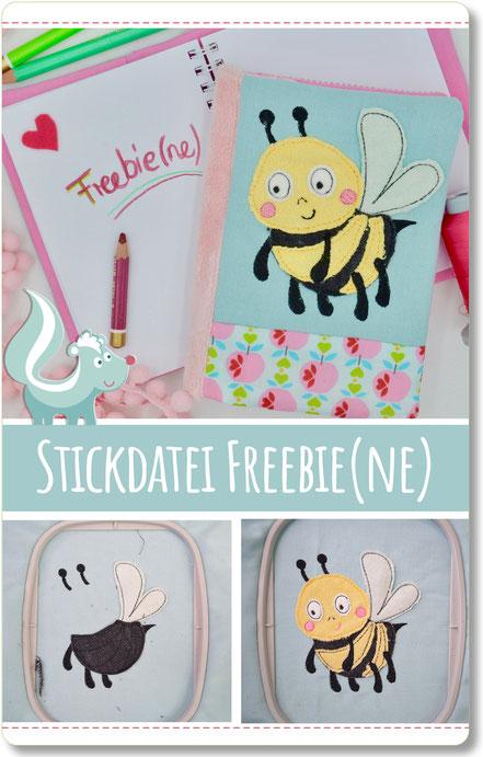 Freebie Biene, Stickdatei für die Stickmaschine, Bienenapplikation von Sticktier
