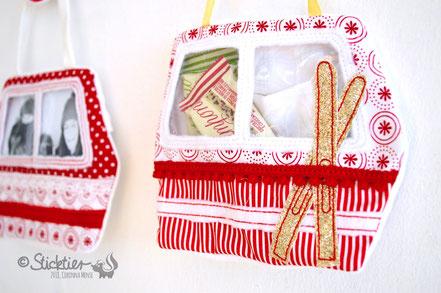 Stickdatei Weihnachten, Adventskalender, Skigondel, Skilift, Seilbahn für die Stickmaschine