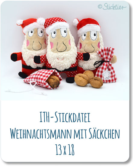 ITH Nikolaus gestickt, Nikolaus Selbermachen, mit der Stickmaschine gestickt, Sticktier, Weihnachtsmann ITH Dateien