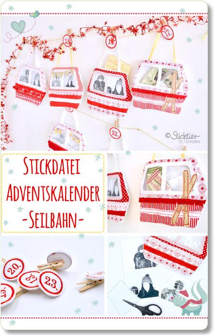 Stickdatei Adventskalender für die Stickmaschine Seilbahn