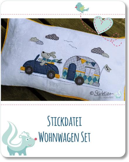 Stickdatei, Applikation Wohnwagen, Stickdatei Hund, für den 13x18 Stickrahmen, Sticktier Stickdatei