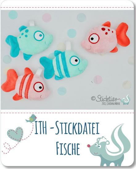 ITH Stickdatei Fische für den 10x10 cm Stickrahmen der Stickmaschine