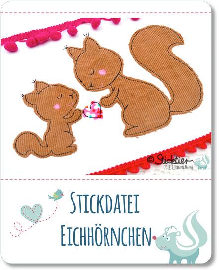 Applikation, Stickdatei Eichhörnchen, Herbst Stickdatei von Sticktier