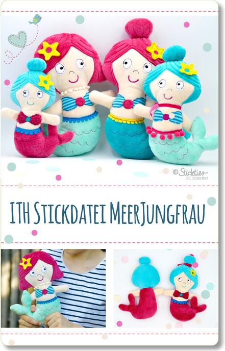 ith Meerjungfrau Stickdatei von Sticktier, Kuscheltiere und puppe gestickt