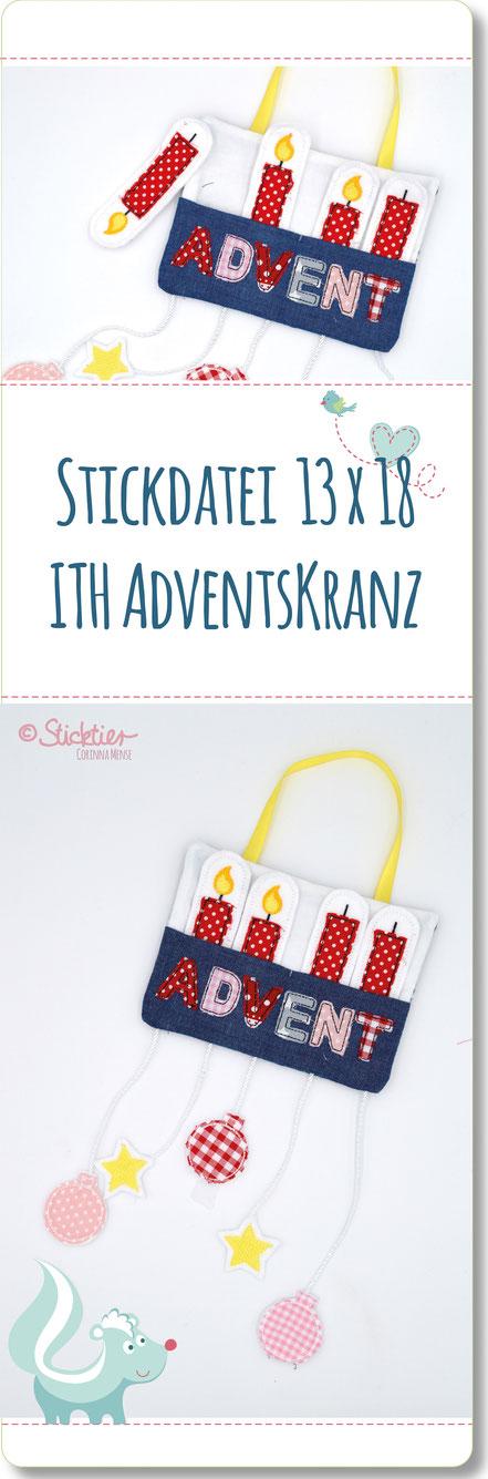 ITH Stickdatei Adventskranz, Stickdatei von Sticktier, Adventskranz für Kinder, Weihnachten, Advent