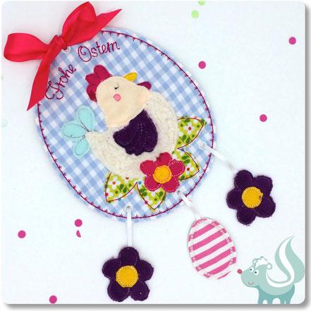 ITH Stickdatei Ostern, Huhn mit Ei Stickdatei für die Stickmaschine von Sticktier