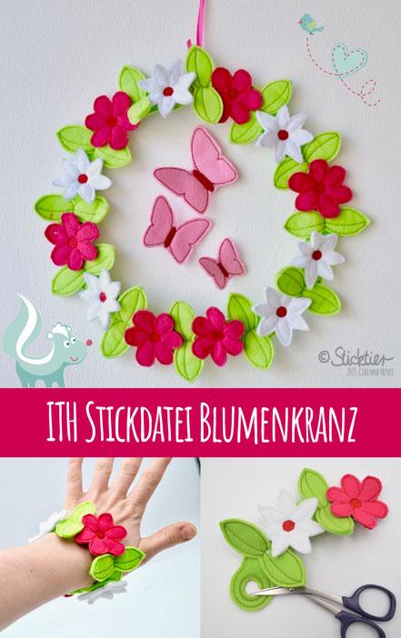 Ith Stickdatei Osterkranz, Sticken für die Stickmaschine, Frühlingskranz gestickt, Sticktier