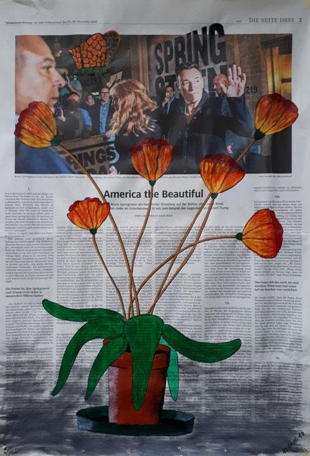Süddeutsche Zeitung, Topfpflanze, Blumen, Frühling, Spring, Bruce Springsteen, Acrylfarbe, Christian Niklis