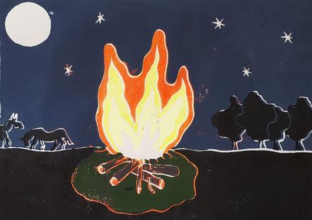 Lagerfeuer, Nachthimmel, Bäume, Pferde, Linolschnitt, Linoldruck, Christian Niklis