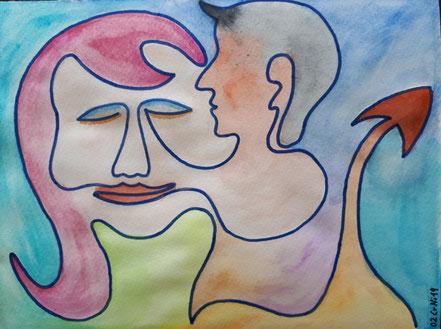 Verführung, Teufel, Frau, Wasserfarbe, Christian Niklis
