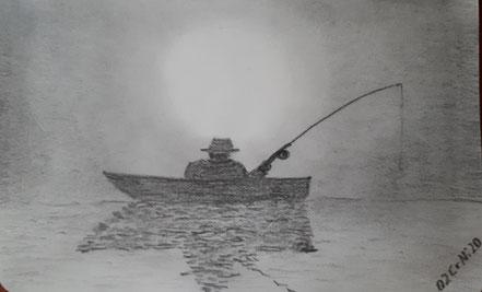 Angler, Sonnenuntergang, Sonnenaufgang, Bleistiftzeichnung, Christian NIklis