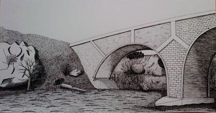 Steinbrücke, Brücke, Fluss, Uferböschung, Tuschezeichnung, Christian Niklis