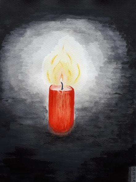 Kerze, Kerzenschein, Dunkelheit, Wasserfarbe, Christian Niklis