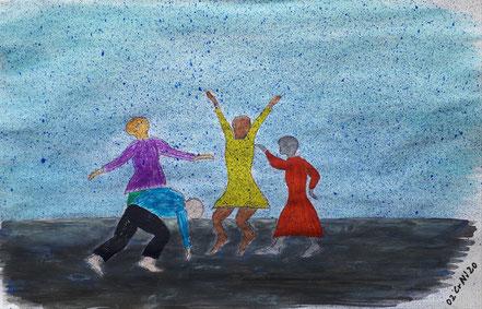 Regentanz, Tanz, Menschen, Regen, Wasserfarbe, Christian Niklis