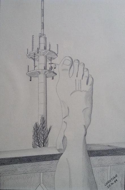 Fuß, Balkonbrüstung, Antennenmast, Schaftlach, Bleistiftzeichnung, Christian Niklis