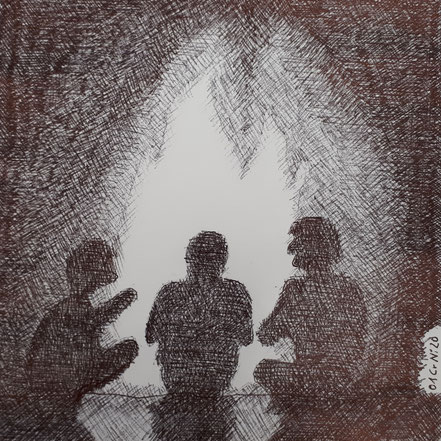 Lagerfeuer, Feuerstelle, Männer, Kreis der Männer, Raum für Männer, Kugelschreiberzeichnung, Christian Niklis