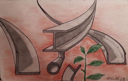 Stahlträger, Pflanze, Bleistiftzeichnung, Christian Niklis