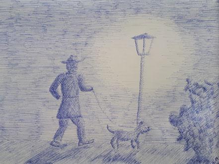 Nachtspaziergang, Mann mit Hund, Kugelschreiberzeichnung, Christian Niklis