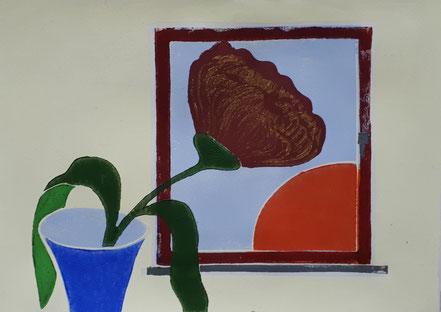 Blume, Vase, Fenster, Sonnenaufgang, Sonnenuntergang, Linolschnitt, Linoldruck, Christian Niklis