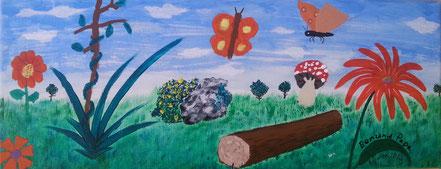 Schmetterlinge, Baumstamm, Felsen, Pilze, Blumen, Gräser, Vater, Sohn, Acrylfarbe, Christian Niklis