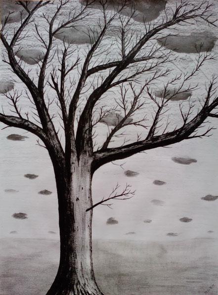 Baum ohne Laub, Herbstbaum, Tuschezeichnung, Christian Niklis