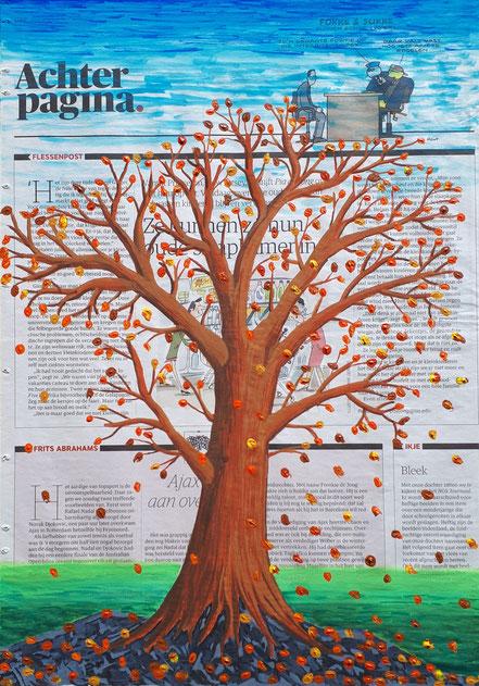 NRC Handelsblad, Achter pagina, Herbstbaum, Wasserfarbe, Acrylfarbe, Christian Niklis