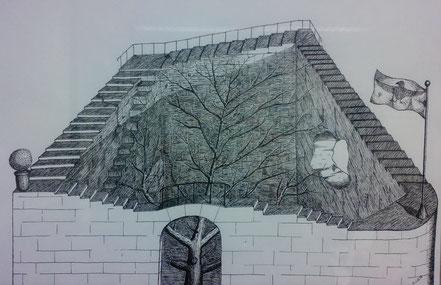 Herbstbaum, Baum ohne Laub, Mauer, Treppe ohne Anfang und Ende, endlose Treppe, Tuschezeichnung, Christian Niklis