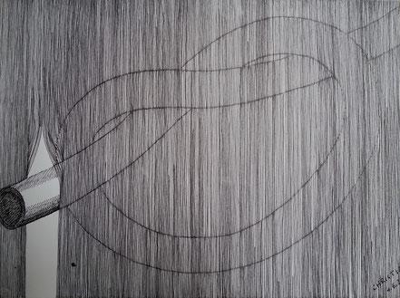 Knoten, Vorhang, Linien, Vertikale, Tuschezeichnung, Christian Niklis