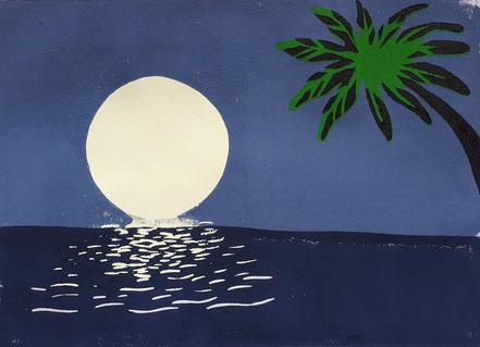 Landschaft, Mond, Meer, Palme, Linolschnitt, Linoldruck, Christian Niklis