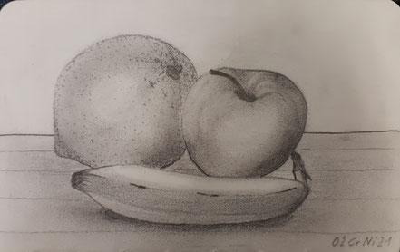 Früchte, Orange, Apfel, Banane, Stillleben, Bleistiftzeichnung, Christian Niklis