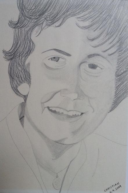 Portrait, Else Niklis, Else Beilner, Bleistiftzeichnung, Christian Niklis
