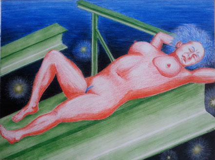 Weiblicher Akt, Aktmalerei, Stahlträger, Universum, Frau, Weltall, Rothaut, Aquarellkreide, Christian Niklis