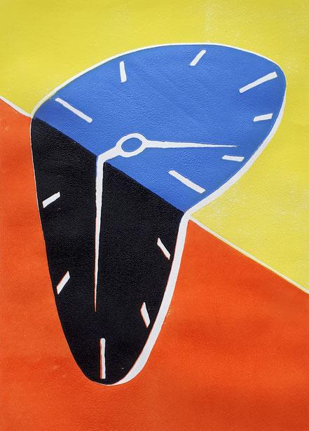 Uhr, Surrealismus, Linolschnitt, Linoldruck, Christian Niklis