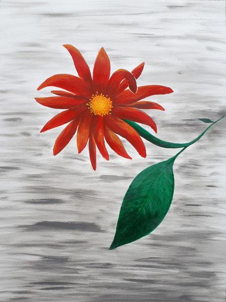 Blume, Nebel, Blüte, Acrylfarbe, Christian Niklis
