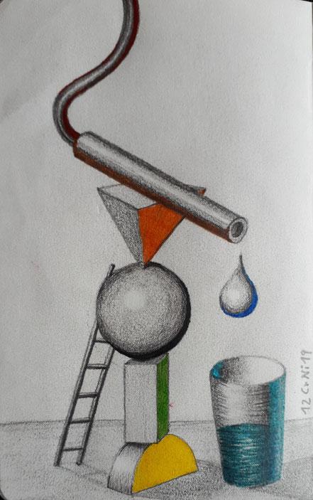 Surrealismus, Körper, Tropfen, Leiter, Glas, Bleistiftzeichnung, Christian Niklis