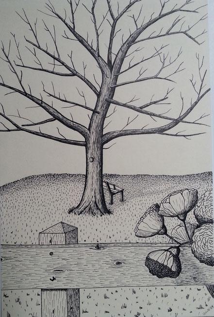 Herbstbaum, Baum ohne Laub, Gartenbank, Holzzaun, Blumen, Tuschezeichnung, Christian Niklis