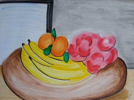Stillleben, Obstkorb, Bananen, Orangen, Äpfel, Fenster, Acrylfarbe, Christian Niklis