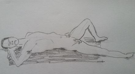 Männlicher Akt, Aktzeichnen, Bleistiftzeichnung, Christian Niklis