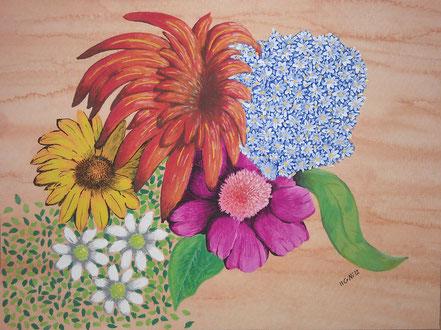 Stillleben, Blüten, Blumen, Blumenstrauss, Bouquet, Wasserfarbe, Christian Niklis