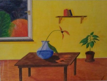 Stillleben, Fensterplatz, Blume, Vase, Tisch, Fenster, Bücherregal, Gummibaum, Topfpflanze, Wasserfarbe, Christian Niklis