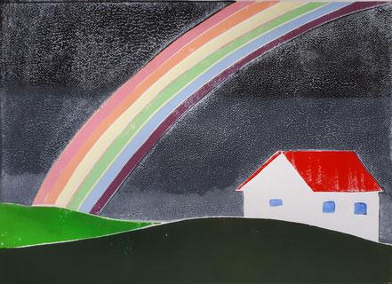 Regenbogen, Haus, Linolschnitt, Linoldruck, Christian Niklis