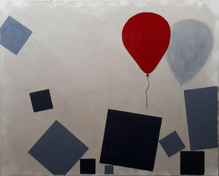 Würfel, Luftballon, Schatten, Schwere, Leichtigkeit, Acrylfarbe, Christian Niklis